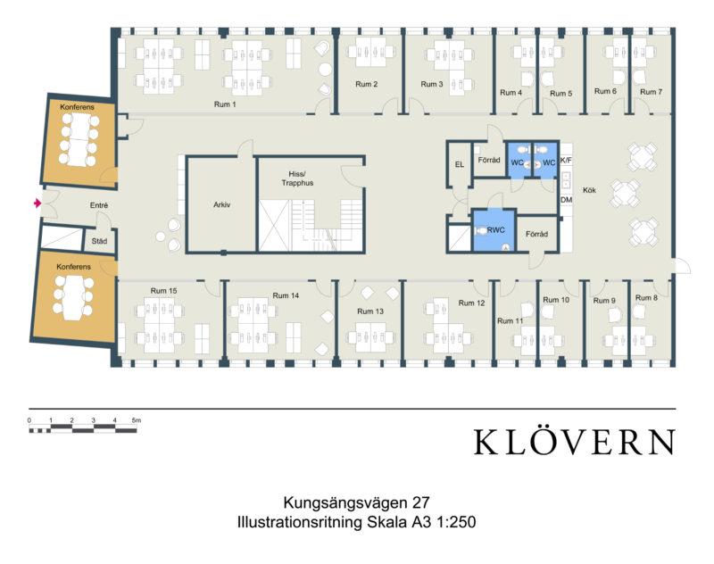 FirstOffice Kungsporten 27, kontorshotell i Uppsala. Planritning.